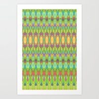 ikat Art Prints featuring Ikat  by Amber Nuttall
