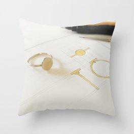 Signet Ring Sketch Throw Pillow