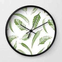 Leaf Pattern - Green Wall Clock