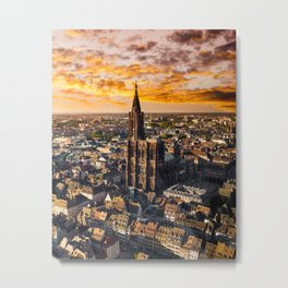 Majestic sunset at Strasbourg Cathedral Metal Print