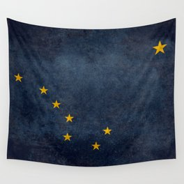 Alaskan State Flag, Distressed worn style Wall Tapestry
