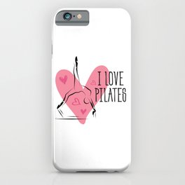 Pilates on reformer and heart iPhone Case