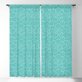 Chinese Spirals Pattern | Abstract Waves | Swirl Patterns | Circles and Swirls | Teal and White | Blackout Curtain