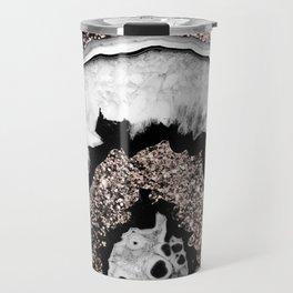 Gray Black White Agate with Rose Gold Glitter #1a #gem #decor #art #society6 Travel Mug