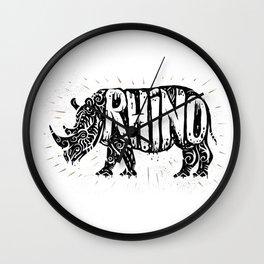 Rhino in tribal style Wall Clock