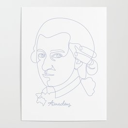 Wolfgang Amadeus Mozart Oneline Blue Poster