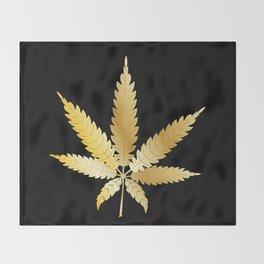 Gold Cannabis Leaf Throw Blanket