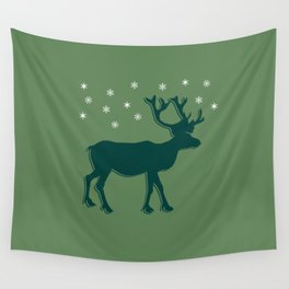Green Reindeer with Snowflakes Wall Tapestry