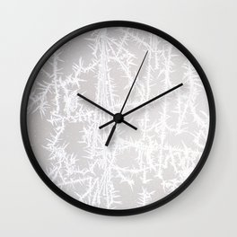 White Ice Crystals on Gray Background Wall Clock
