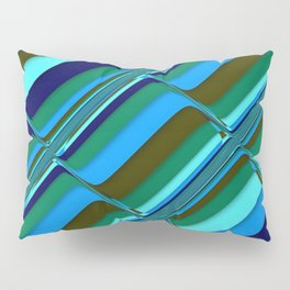 Vibrant Tiles in Blue, Green, Navy and Mint Pillow Sham