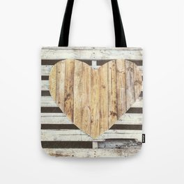 Wooden Heart Tote Bag