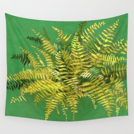 Golden Fern, green & yellow Wall Tapestry