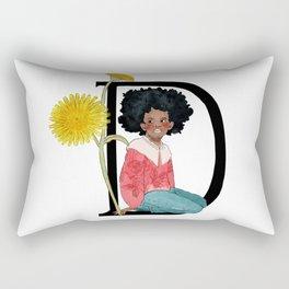 Alphabet Art, The letter D, Dandelion, Flower Art, Watercolor Flowers, Girl Room Art Rectangular Pillow