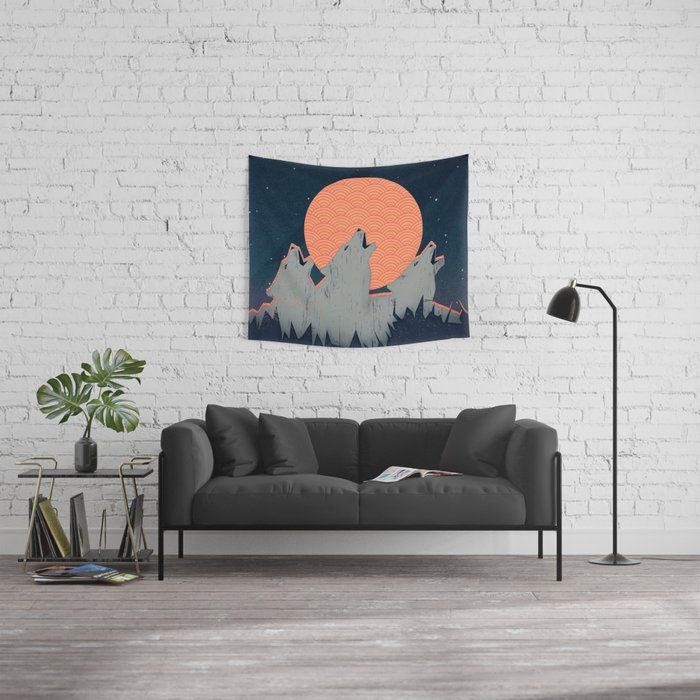 Howling Moon Wall Tapestry