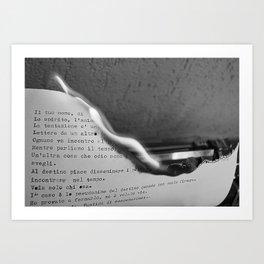 BURNING LETTER ON A TYPEWRITER Art Print