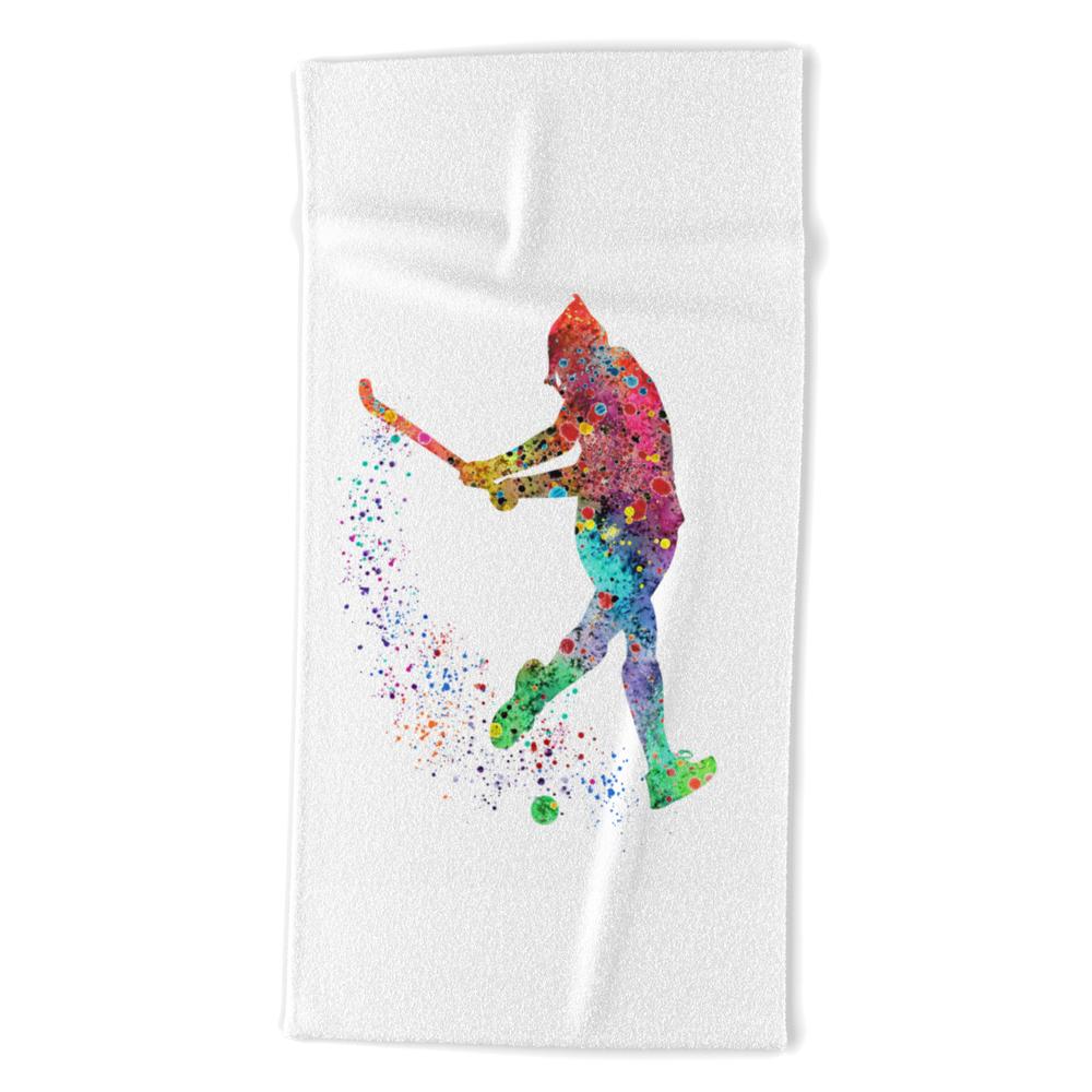 Girl Field Hockey 2 Colorful Watercolor Art Field Hockey Gift Girl's Room Decor Beach Towel by svetlaart