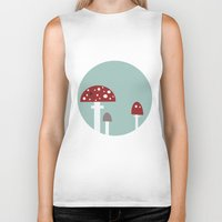 mushrooms Biker Tanks featuring mushrooms by liva cabule