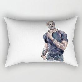 Muscular man in a tattoo Rectangular Pillow