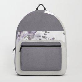 Mauve Gray Floral stripe pattern Backpack