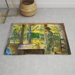 Classical Masterpiece 'The Goldfish Window' by Frederick Childe Hassam Rug