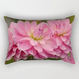 Fresh Rain Drops - Pink Dahlia Rectangular Pillow