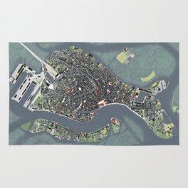 Venice city map engraving Rug