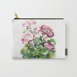 Watercolor pink geranium flowers aquarelle Carry-All Pouch