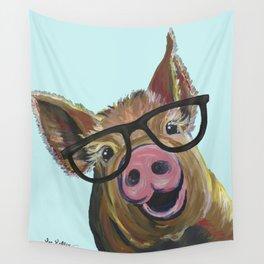 Cute Pig, Pig Art, Farm Animal Wall Tapestry