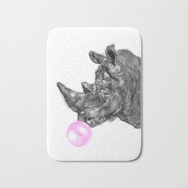 Bubble Gum Rhinoceros Black and White Bath Mat