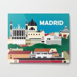 Madrid, Spain - Skyline Illustration by Loose Petals Metal Print