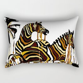 Zebra in Autumn BROWN GOLD YELLOW PATTERN Rectangular Pillow