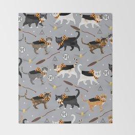 Cat wizard cats wizard school pattern Throw Blanket