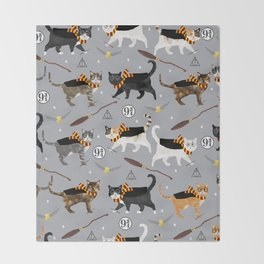 Cat wizard cats wizard school pattern Decke