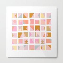 Modern Graphic Shapes in Pink and Gold Metal Print