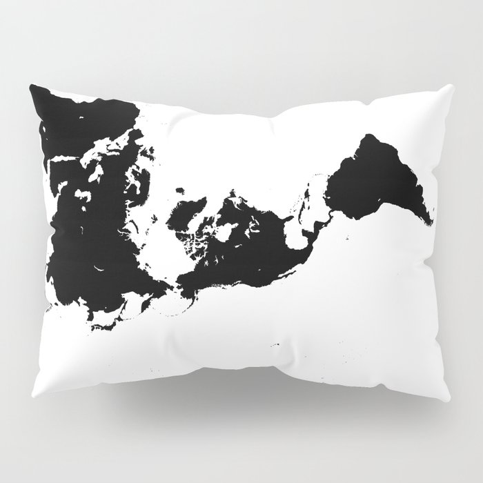 Dymaxion World Map (Fuller Projection Map) - Minimalist Black on White Pillow Sham