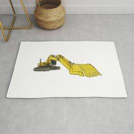 Yellow Backhoe Loader Rug