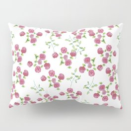 Watercolor roses on white backgroung Pillow Sham