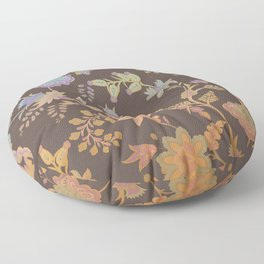 Chateau Brown Chinoiserie Decorative Floral Motif Chintz Floor Pillow