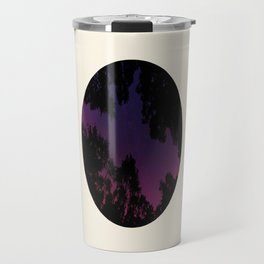 Tree Silhouette Against Purple Sky Circle Photo Frame Travel Mug