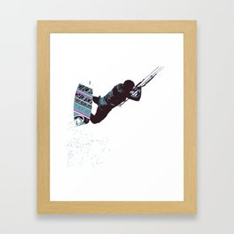 Kite And Surfboard Freestyle Silhouette Vector Framed Art Print