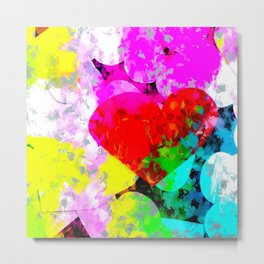 red heart shape pattern with colorful painting abstract in pink blue green yellow Metal Print