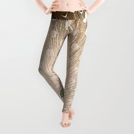 Peacock - Vintage Fantasy Bird Beige Brown Leggings