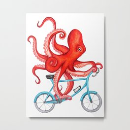 Cycling octopus Metal Print