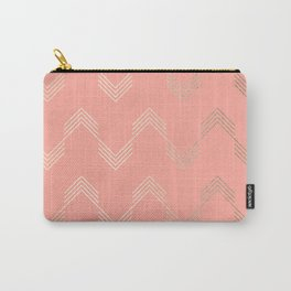 Simply Deconstructed Chevron White Gold Sands on Salmon Pink Carry-All Pouch