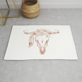 Rose Gold Bull Skull with Pink Feather Flowers Rug