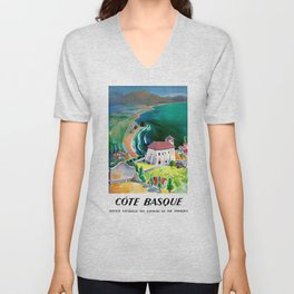 1946 France Cote Basque Railway Travel Poster Unisex V-Neck
