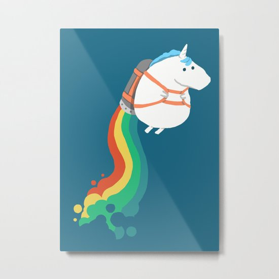 Fat Unicorn on Rainbow Jetpack Metal Print
