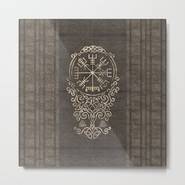Vegvisir and Tree of life  - Yggdrasil Metal Print