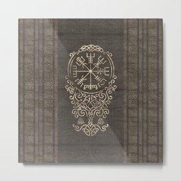 Vegvisir and Tree of life  - Yggdrasil Metal Print