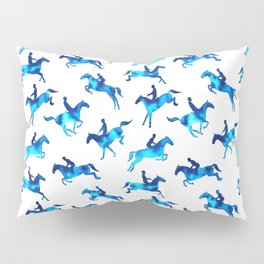 Watercolor Showjumping Horses (Blue) Pillow Sham